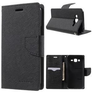Diary stylové peněženkové pouzdro na Samsung Galaxy J5 - černé - 1