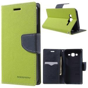 Diary stylové peněženkové pouzdro na Samsung Galaxy J5 - zelené - 1