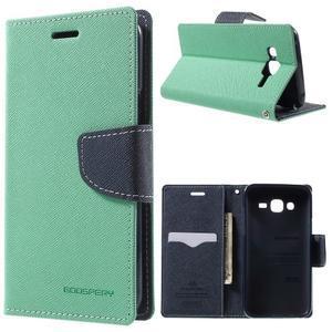 Diary stylové peněženkové pouzdro na Samsung Galaxy J5 - azurové - 1
