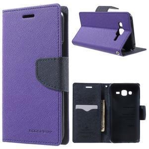 Diary stylové peněženkové pouzdro na Samsung Galaxy J5 - fialové - 1