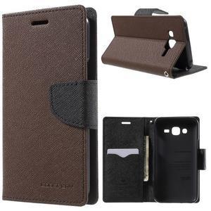 Diary stylové peněženkové pouzdro na Samsung Galaxy J5 - hnědé - 1