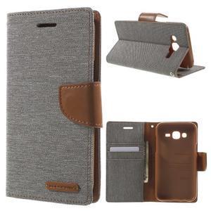 Luxury textilní/pu kožené pouzdro na Samsung Galaxy J5 - šedé - 1