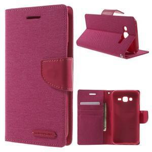 Luxury textilní/pu kožené pouzdro na Samsung Galaxy J5 - rose - 1