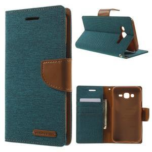 Luxury textilní/PU kožené pouzdro na Samsung Galaxy J5 - zelenomodré - 1