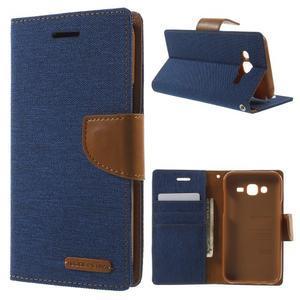 Luxury textilní/pu kožené pouzdro na Samsung Galaxy J5 - modré - 1