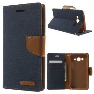 Luxury textilní/pu kožené pouzdro na Samsung Galaxy J5 - tmavěmodré - 1