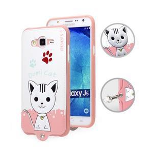 Gelový obal s kočičkou Domi s koženkovými zády na Samsung Galaxy J5 - bílý - 1