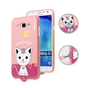 Gelový obal s kočičkou Domi s koženkovými zády na Samsung Galaxy J5 - růžové - 1
