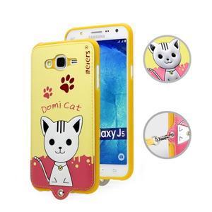Gelový obal s kočičkou Domi s koženkovými zády na Samsung Galaxy J5 - žluté - 1