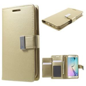 Wallet PU kožené pouzdro na Samsung Galaxy S6 Edge G925 - champagne - 1