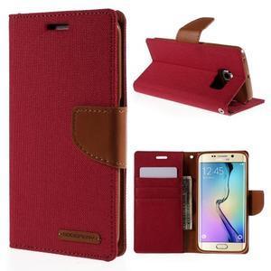 Luxury textilní/koženkové pouzdro pro Samsung Galaxy S6 Edge - červené - 1