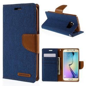 Luxury textilní/koženkové pouzdro pro Samsung Galaxy S6 Edge - modré - 1