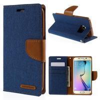 Luxury textilní/koženkové pouzdro pro Samsung Galaxy S6 Edge - modré - 1/6