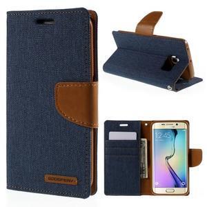 Luxury textilní/koženkové pouzdro pro Samsung Galaxy S6 Edge - jeans - 1