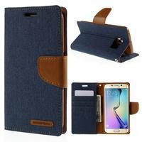 Luxury textilní/koženkové pouzdro pro Samsung Galaxy S6 Edge - jeans - 1/7