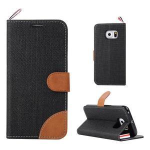Jeans textilní/pu kožené pouzdro na Samsung Galaxy S6 Edge - černé - 1