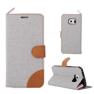 Jeans textilní/pu kožené pouzdro na Samsung Galaxy S6 Edge - šedé - 1