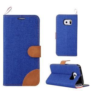 Jeans textilní/pu kožené pouzdro na Samsung Galaxy S6 Edge - modré - 1