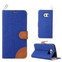 Jeans textilní/pu kožené pouzdro na Samsung Galaxy S6 Edge - modré - 1/5