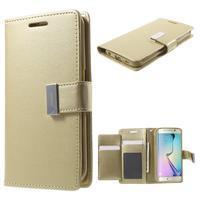 Wallet PU kožené pouzdro na Samsung Galaxy S6 Edge G925 - champagne - 1/7