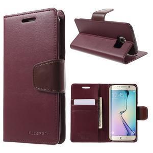 Wallet PU kožené pouzdro na Samsung Galaxy S6 Edge G925 - vínové - 1