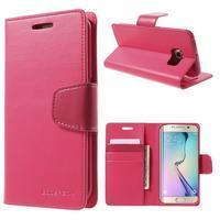 Wallet PU kožené pouzdro na Samsung Galaxy S6 Edge G925 - rose - 1/7