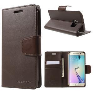 Wallet PU kožené pouzdro na Samsung Galaxy S6 Edge G925 - tmavěhnědé - 1