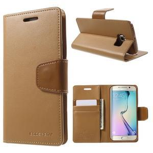 Wallet PU kožené pouzdro na Samsung Galaxy S6 Edge G925 - hnědé - 1