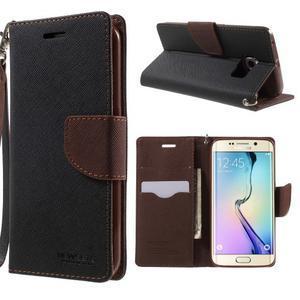 Diary PU kožené pouzdro na Samsung Galaxy S6 Edge - černé/hnědé - 1