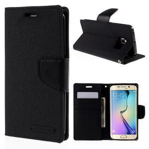 Luxury textilní/koženkové pouzdro pro Samsung Galaxy S6 Edge - černé - 1