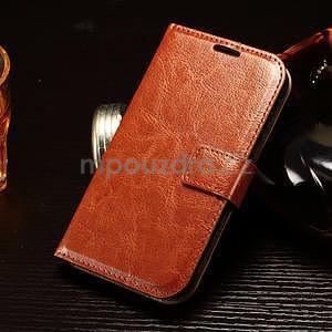 Koženkové peněženkové pouzdro na Samsung Galaxy Xcover 3 - hnědé - 1