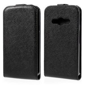 Flipové koženkové pouzdro na Samsung Galaxy Xcover 3 - černé - 1