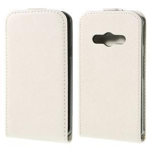 Flipové koženkové pouzdro na Samsung Galaxy Xcover 3 - bílé - 1
