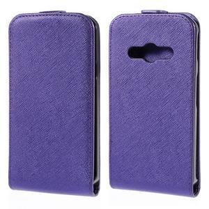 Flipové koženkové pouzdro na Samsung Galaxy Xcover 3 - fialové - 1