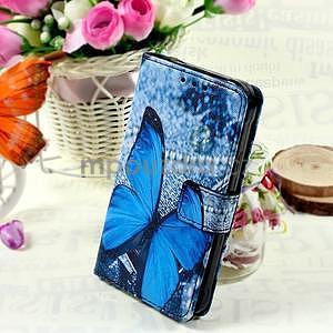 Stylové peněženkové pouzdro pro Samsung Galaxy Xcover 3 - modrý motýl - 1