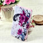Stylové peněženkové pouzdro pro Samsung Galaxy Xcover 3 - fialové květy - 1/7