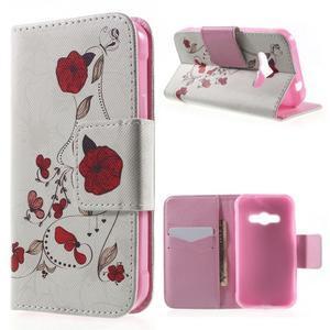 Vzorové peněženkové pouzdro na Samsung Galaxy Xcover 3 - červené květy - 1