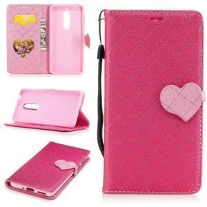 Hearts PU kožené pouzdro na Nokia 5 - rose - 1