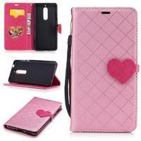Hearts PU kožené pouzdro na Nokia 5 - růžové - 1/3