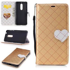Hearts PU kožené pouzdro na Nokia 5 - zlaté - 1