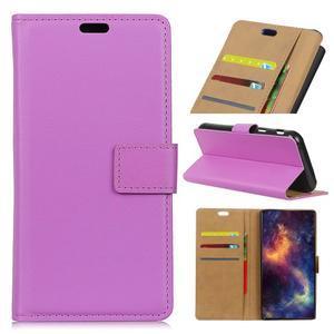 Wallet PU kožené pouzdro na Samsung Galaxy A6+ (2018) - fialové - 1