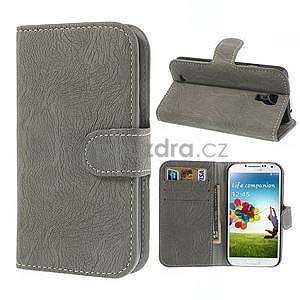 PU kožené peněženkové pouzdro na Samsung Galaxy S4 - šedé - 1
