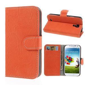 PU kožené peněženkové pouzdro na Samsung Galaxy S4 - oranžové - 1