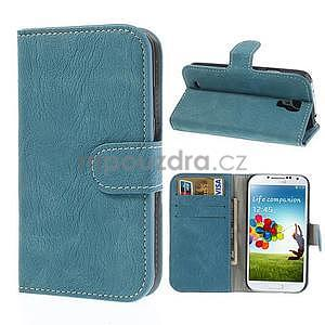 PU kožené peněženkové pouzdro na Samsung Galaxy S4 - modré - 1