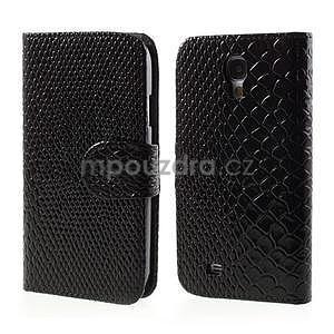PU kožené peněženkové pouzdro s hadím motivem na Samsung Galaxy S4 - černé - 1
