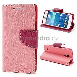 PU kožené peněženkové pouzdro na Samsung Galaxy S4 mini - růžové - 1