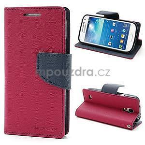 PU kožené peněženkové pouzdro na Samsung Galaxy S4 mini - rose - 1