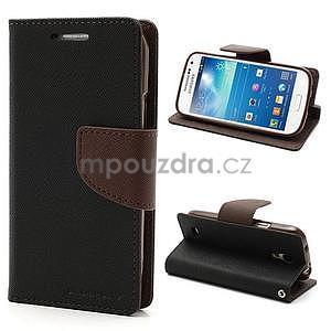 PU kožené peněženkové pouzdro na Samsung Galaxy S4 mini - hnědé/černé - 1