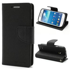 PU kožené peněženkové pouzdro na Samsung Galaxy S4 mini - černé - 1