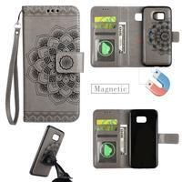 Mandala PU kožené pouzdro na Samsung Galaxy S7 Edge - šedé - 1/6